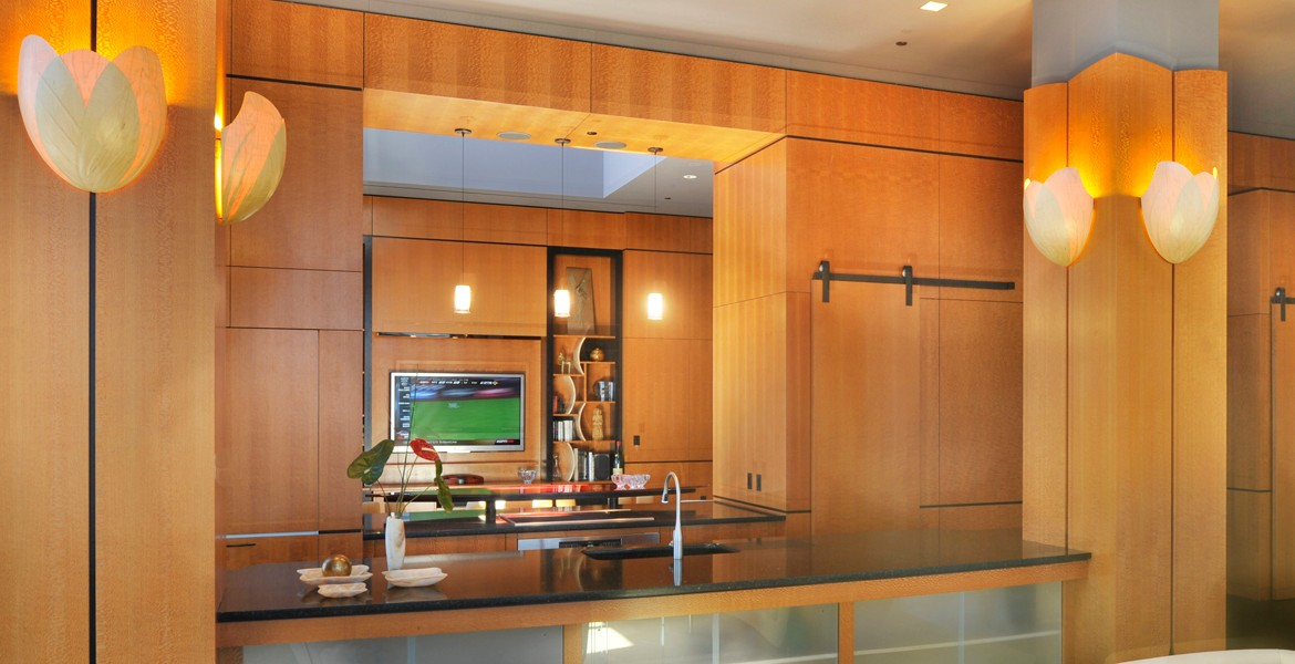 exotic woods paneling & cabinetry