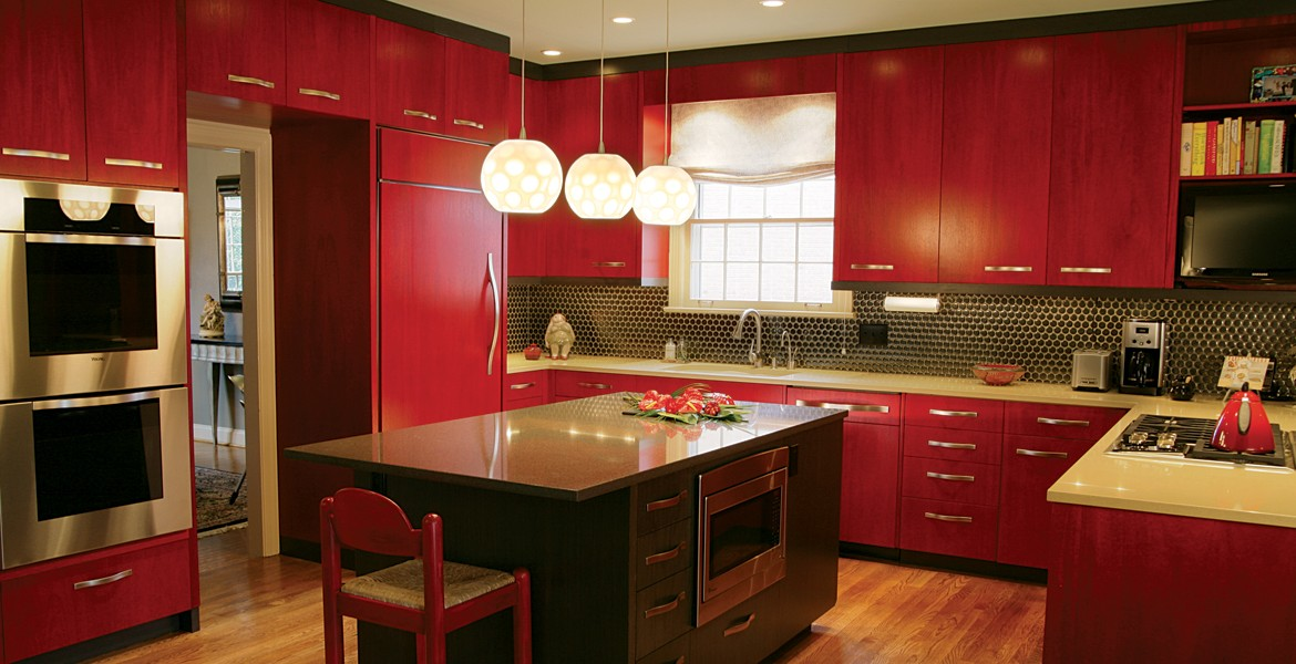 custom red stained kitchen cabinets
